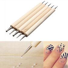 5Stk 2 Weise Dotting Pen Holz Handled Nail Art Werkzeug Punktierung Stift Neu