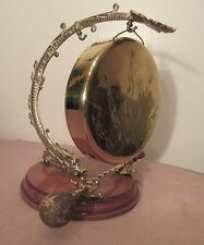 quality antique ornate figural dolphin brass wood dinner gong bell instrument