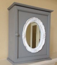 Shabby Chic French Grey Bath Wall Storage Cabinet White Ornate Mirror