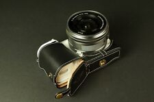 Genuine real Leather Half Camera Case bag for Sony NEX5T NEX5R Black Bottom Open