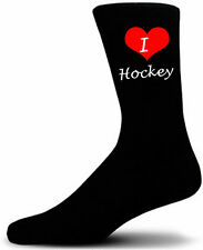 I Love Hockey Socks.  Black Cotton Socks.