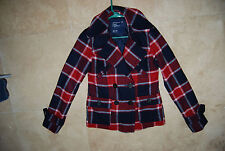 Red Cream Navy Blue AMERICAN EAGLE OUTFITTERS Dbl Breasted Peacoat Jacket XS
