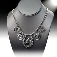 Western COWGIRL Silver Rhinestone Horse Hat Spur Horseshoe Charm Necklace BLING