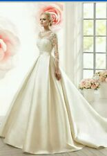 UK New White/Ivory Lace & Satin wedding dress bridal Gown size 6-20