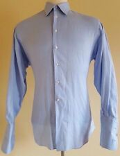 ERMENEGILDO Zegna SHIRT Mens 16 BLUE Cotton FRENCH Cuffs SZ Size MAN Su MISURA**