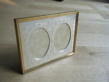 Antique Tabletop Double Photo Picture Bras Frame Metal Ornate Insert