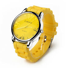 New Water resistance Digital Analog Date LED Silicone Sport Wrist Watch YELLOW