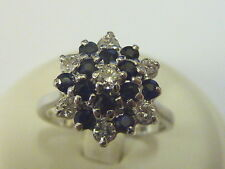 Ladies 18ct White Gold 32pt Diamond & Sapphire Snowflake Cluster Ring - Size N