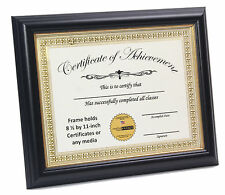 Black 8.5x11 Certificate Frame with Gold Rim Displays Certificates
