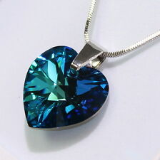 Bermuda Blue Heart Swarovski Elements Necklace Crystal Pendant Gift Ladies