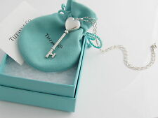 Tiffany & Co RARE Silver Heart Key Locket Pendant Oval Link Chain Necklace!