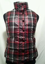 Tommy Hilfiger Sleeveless Coat Down Feathers Plaid Full Zip Puffer Vest Women S