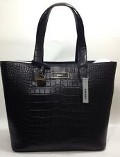 BNWT DKNY Donna Karen Black Leather Croc Embossed Shoulder Hand Bag RRP £375.00