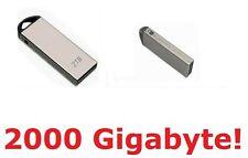 USB Stick Flash Drive 2Tb (2 Terabyte). Slim silver Hi-speed. All OS. 2000Gb