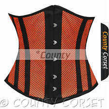 Underbust Steel Boned Heavy Lacing Shaper Orange Black Mesh Summer Corset Korset