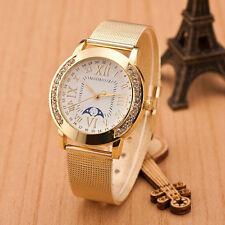 Reloj De Mujer Clásico Dorado Números Romanos Cuarzo Caja De Acero Inoxidable