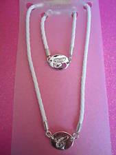 CRYSTAL INITIAL C WHITE ROPE NECKLACE AND BRACELET SET