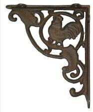CAST IRON- Rust Rooster Shelf Bracket Brace Set Of 2 Great Country Decor