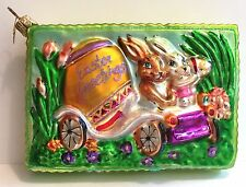 Christopher Radko Easter Greetings Glass Postcard Ornament 2 Bunny Rabbits Car