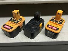 3 Ryobi 18v - 2 ONE+ P100 & 1 Ref NiCad batteries. Non working, for parts/repair