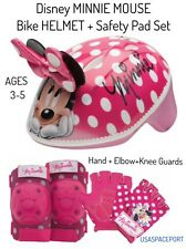 Girls Minnie Mouse BIKE HELMET+GLOVES+ELBOW+KNEE PAD SET Scooter Skates Toddler