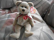 Rare TY Beanie Baby SIGNATURE TEDDY BEAR 1999 Retired  ERROR Hang Tag NO STAMP