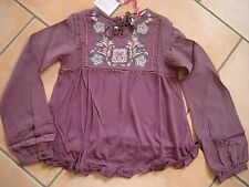 (225) Nolita Pocket Girls langarm Bluse in A-Form mit Blumen Stickerei  gr.140