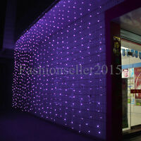 6M*3M 600 LED Purple Outdoor Party Wedding Christmas String Fairy Curtain Lights