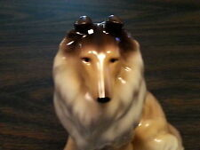 "Large  8"" COLLIE DOG Porcelain Ceramic Figurine Statute Quality New Collectible"