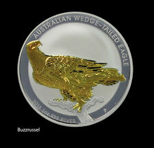 2016 P 1 oz. Australian $1 1 oz. Silver Wedge Tailed Eagle 24K Gold Gilded Capsu