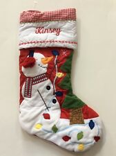 Pottery Barn Kids Christmas Red Gingham Quilted Snowman Stocking Name KINSEY New
