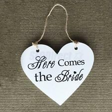 Wood Chic heart 'Here Comes the Bride' personalised wedding sign gift Plaque
