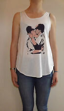 Banksy Kissing Cops Graffiti T-Shirt Vest Tank Top Ladies Girl Kissing Policemen