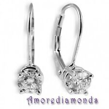 1.00 ct G SI round ideal cut diamond solitaire leverback earrings 14k white gold