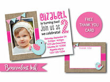 Bird First Birthday Invitation Printable Custom Design