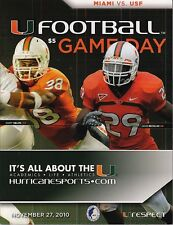 MIAMI HURRICANES VS USF BULLS OFFICIAL PROGRAM 11/27/2010 Cory Nelms JoJoNicolas