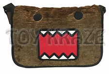 "DOMO KUN MESSENGER! BROWN FUZZY FACE SOFT CROSS BODY SCHOOL BOOK BAG 14"" NWT"