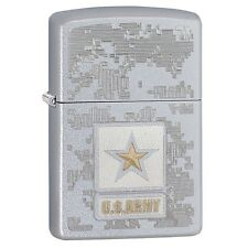 "Zippo ""US Army"" Satin Chrome Finish Lighter, Full Size, 29388"