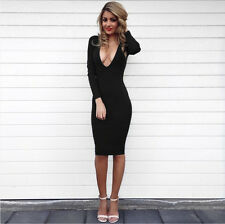 Slim Women Bandage Bodycon Long Sleeve Evening  Party Cocktail pencil Dress G