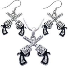 Cowboy Cowgirl Crossing Revolver Gun Pistol Pendant Necklace Hook Earrings Set