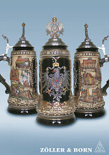 GERMAN BEER STEIN, 1 l pewter relief city coloured with figurine german eagle