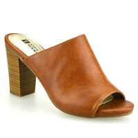 Ladies Womens New High Block Heel Slip On Mules Clogs Summer Sandals Shoes Size