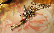 Fairy Bronze Tone W/ Rhinestones Long Sweater Pendant Necklace / US Seller!