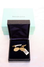 MAGNIFICENT BRAND NEW TIFFANY & CO 18K GOLD DIAMOND PAIR OF CUFFLINKS, BOX