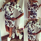 New Women's Half Sleeve Floral Party Cocktail Bodycon Mini Dress Casual Long Top