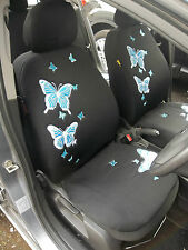 HYUNDAI i10 / i20 / GETZ CAR SEAT COVERS - 3D BLUE BUTTERFLY FULL SET + MAT SET