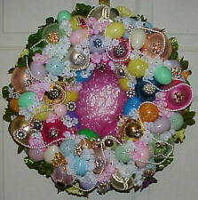 BEAUTIFUL VINTAGE EASTER ORNAMENT WREATH VINTAGE JEWELRY EGGS UPCYCLED MUST SEE