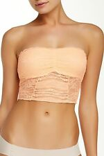 New FREE PEOPLE Peach lace Galloon BANDEAU Bralette bra Crop Top Womens XS $38