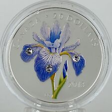 Canada 2013 $20 Blue Flag Iris Pure Silver Color Proof 3 Swarovski Crystals