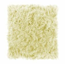 "2 X SUPERSOFT SHAGGY FAUX FUR SUEDE CREAM CUSHION COVERS 16"" - 40CM"